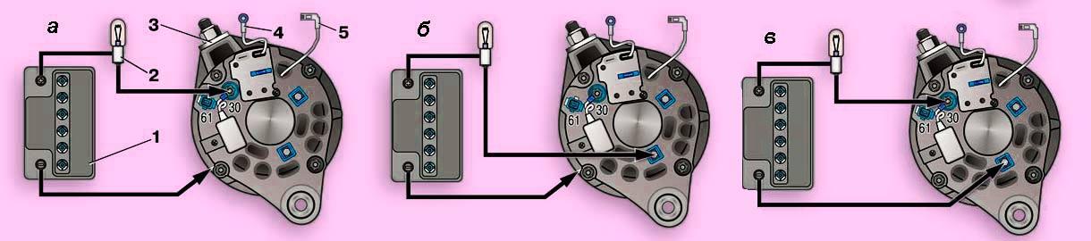 Схемы для проверки вентилей выпрямительного блока