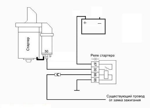 Схема установки реле стартера